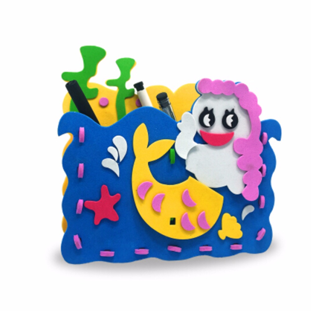 Craft toys for kids - Random Styles Handmade Eva Pen Holder Eva Foam Craft Kits Kids Diy Container For Pens Educational Toys For Children
