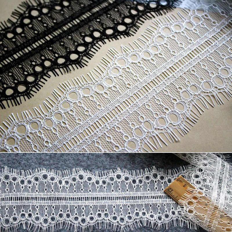 Nuevo caliente 7 cm de ancho negro blanco ojal de gasa de encaje Material brillante pestaña tela de encaje de costura de encaje Decoración 3 metros/lote