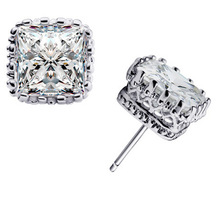 Fine Quality Luxury 6mm Created White Cubic Zircon Stud Earrings Pure Silver Jewelry Wedding Engagement Earrings