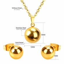 LUXUSTEEL Shiny Ball Earrings With Necklace Pendant Women Jewelry Sets Stainless Steel Gold/Silver/Rose Gold Color Chain Jewelry