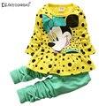 Nova Primavera Outono conjuntos de roupas meninas rato roupas bow tops t camisa leggings calças do bebê meninas roupas 2 pcs terno Crianças roupas