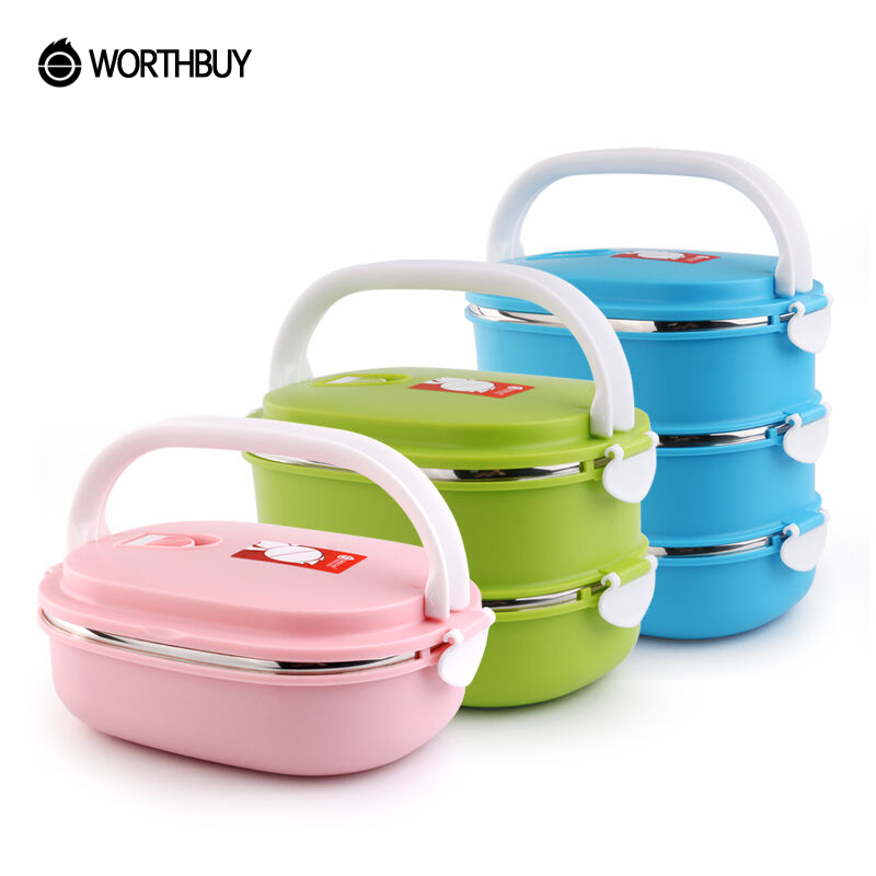 WORTHBUY Portable Food Container Stainless Steel Bento Box Thermal Kids Lunch Box For School Picnic With Dinnerware Set Bag