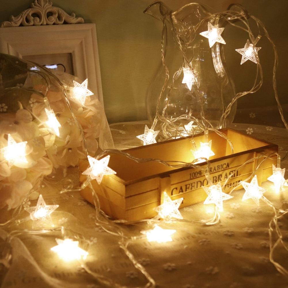 Stars LED String Light 5M 20Led Holiday Decoration Lights Fairy Garland Lantern For Christmas Ramadan Festival Wedding 220V JQ