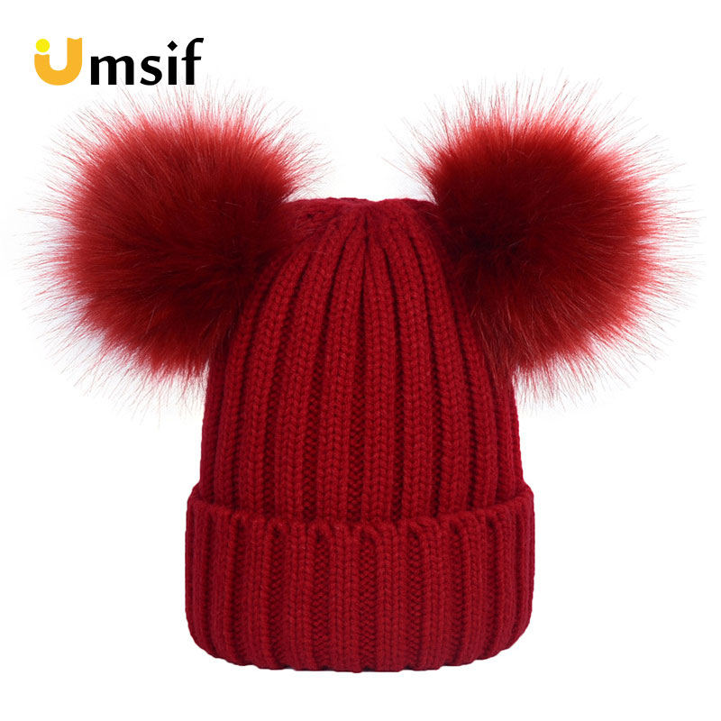 2018 Winter Fashion Women Solid Color Thick Hats Mother Child Double Fur Pompoms Hat Parent-child Knitted   Skullies     Beanies   Caps