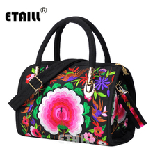ETAILL 2018 Canvas Embroidered Women Large Solid Tote Bag National Single Shoulder Bag Fashion Leisure Crossbody Messenger Bag etaill chinese embroidery single messenger bag women s fashion leisure crossbody bag canvas ethnic boho embroidered women bag