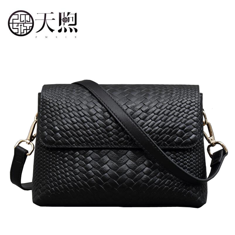 Pmsix new fashion Woven embossed luxury handbags women bags designer Genuine Leather women handbags shoulder bag pmsix autumn winter new women leather handbags embossed flower luxury designer shoulder bags fashion vintage tote bag p110023