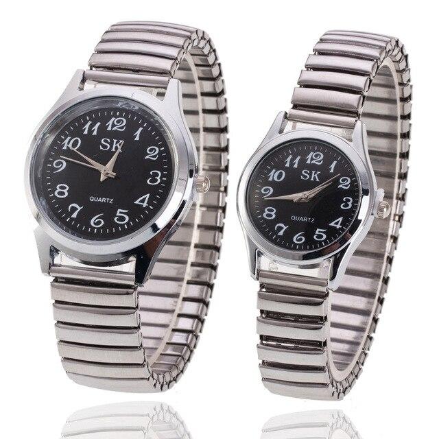 2018 Fashion Watches for Women Men Clear Round Dial Metal Elastic Watchband Quar