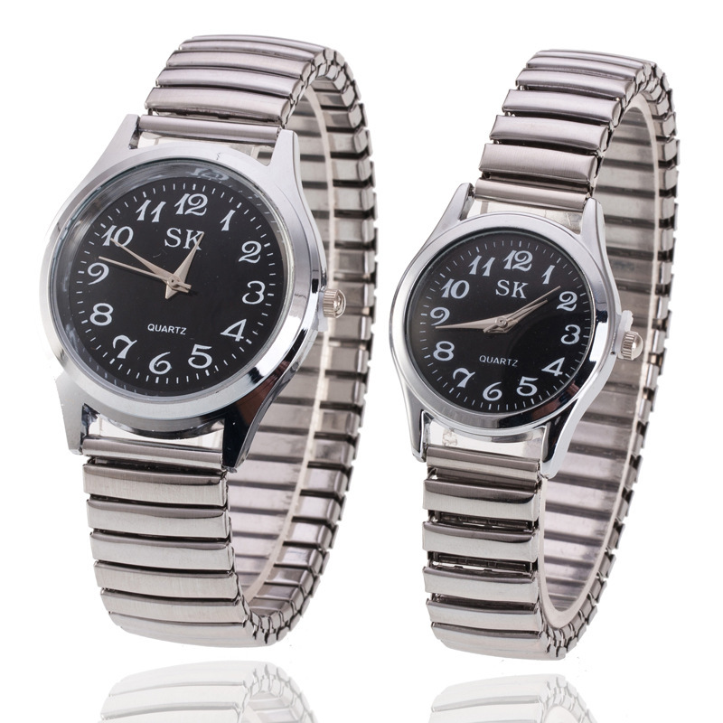 Fashion Watches For Women Men Clear Round Dial Metal Elastic Watchband Quartz Watches Expansion Band Couple Wrist Watch VL