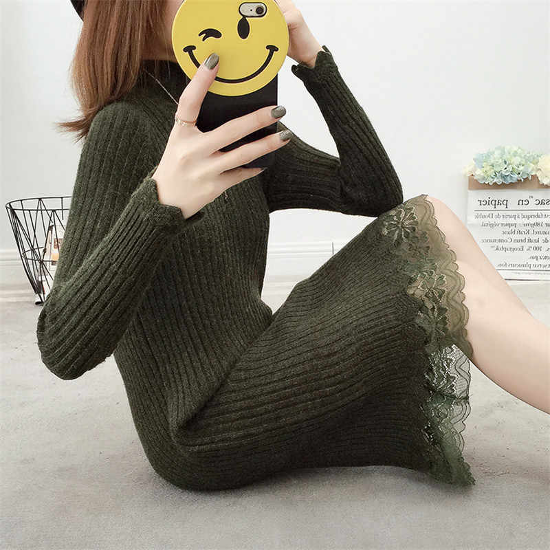 2018 Spring Autumn Long Knitted Sweater Dress Women Cotton Slim Bodycon Sexy Lace Turtleneck Dress Pullover Female IOQRCJV F69