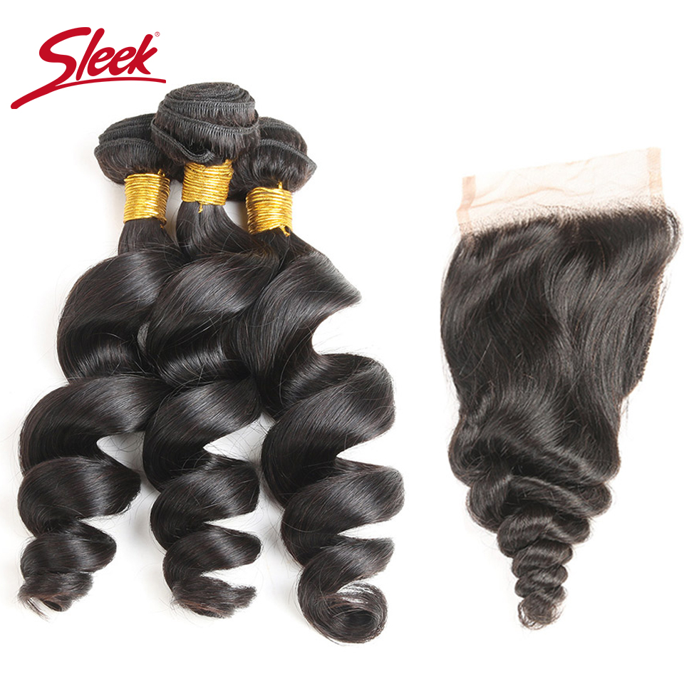 Sleek Brazilian Loose Wave Hair Weave Bundles With Closure Remy Human Hair 3 Bundles With Closure Natural Color Free Shipping
