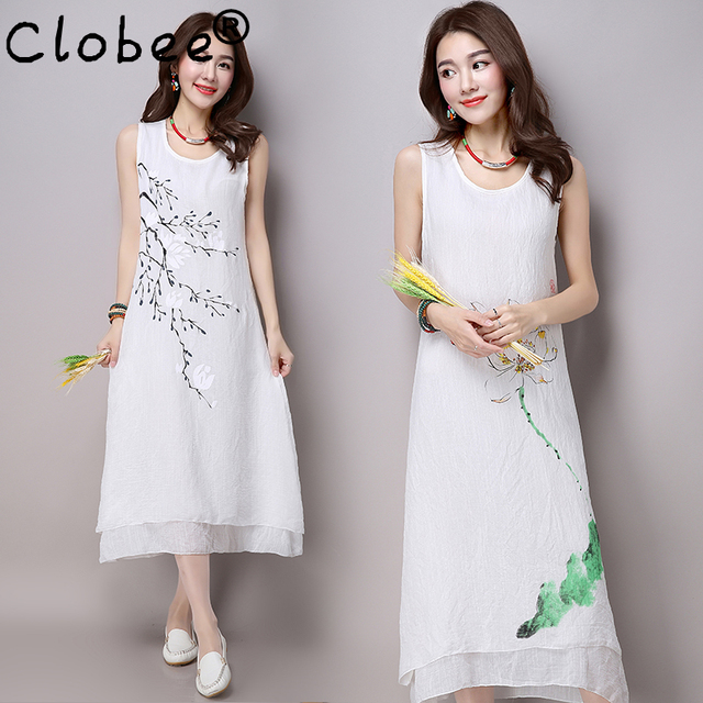 2018 Hot Formal Plus Size Women S Clothing Summer Dress Double Layer Vintage Loose Cotton Linen Sleeveless