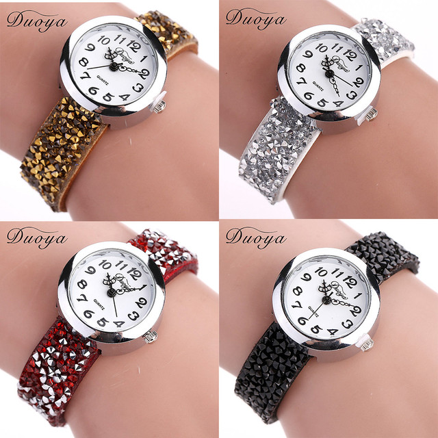 Wrist Watches Women Duoya Brand Silver Full Crystal Dress Bracelet Watch Ladies Dress Watch Luxury Quartz Vintage Watch Relogio
