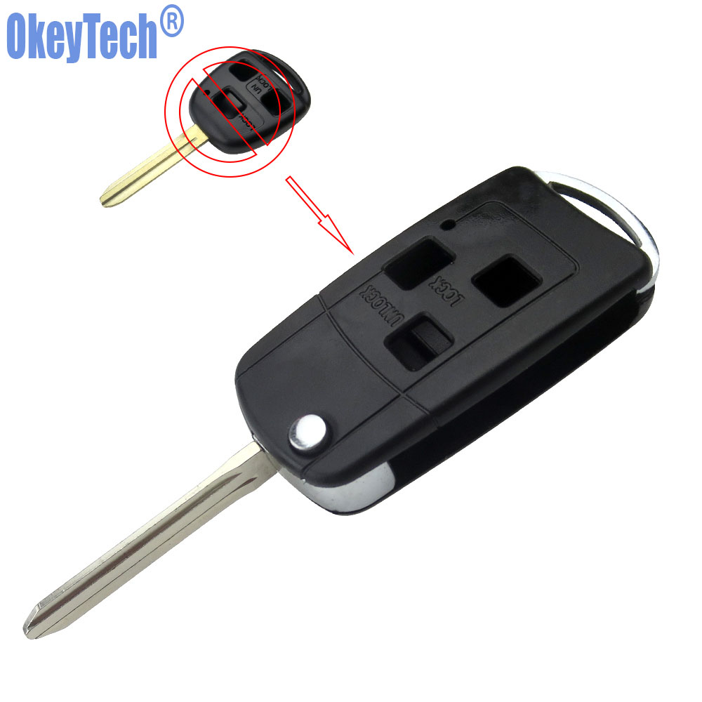 OkeyTech Modified Flip 3 Buttons Car Remote Key Case Fob For Toyota Prado Tarago Camry Corolla Rav 4 Avensis Echo TOY43 Blade new 2 buttons 3 buttons modified flip folding remote key case shell for toyota camry corolla reiz rav4 crown key fob cover