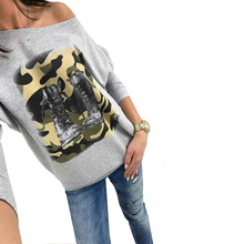 Bambooboy Women's slash neck batwing sleeve SHOES PRINT autumn t-shirt ladies casual tee long sleeve topsZL750