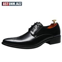 Men S Casual Full Grain Leather Oxfords Shoes Lace Up Pointed Toe Dress Shoes Handmade Wedding
