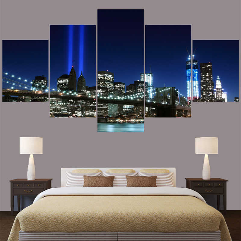 5 Pcs/set Canvas Painting Calligraphy City Bridge Landscape For Living Room Wall Art Decorative Pictures Home Decor For BedRoom