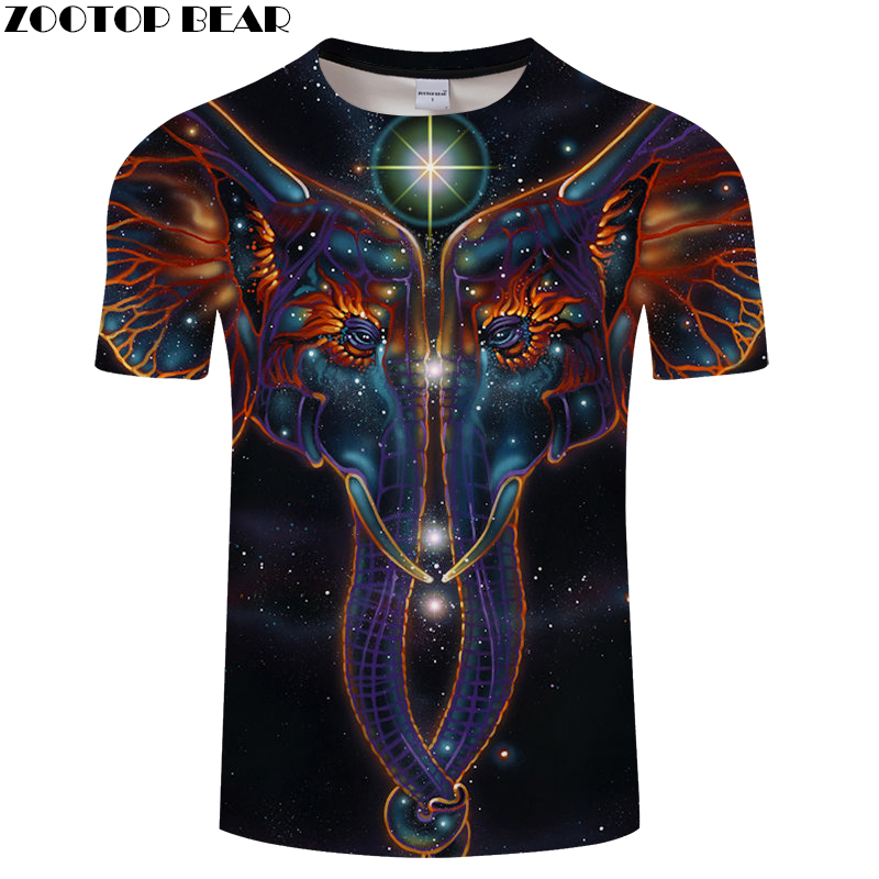 Elephant 3D tshirt Men tshirt Starry Galaxy t shirt Fashion t-shirt Harajuku Tee Summer Top Short Sleeve New DropShip ZOOTOPBEAR