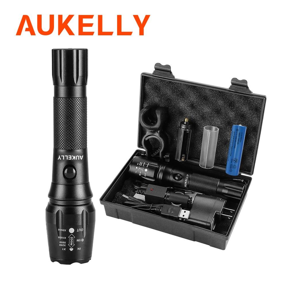 Aukelly LED USB Recarregável Lanterna de Alumínio Portátil de Longo Alcance Poderoso Da Polícia Tática Militar Torch Zoomable Torchlight