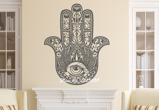 Art Home Decor Hand Of Fatima Sticker Removable Vinyl Yoga Vibes Mural Wall Fish Eye