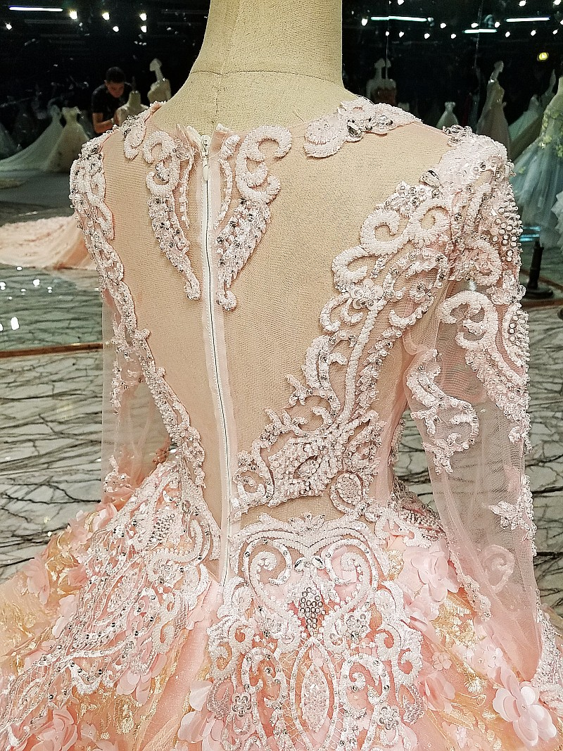 LS12 Pink evening gown zipper back 12D flowers organza ball gown long  evening dress on sale abendkleider lang real photos 12