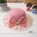2016 nueva moda niños de seda del brote dom sombrero de la muchacha de la perla del arco de Rose sombreros de paja minorista y mayorista