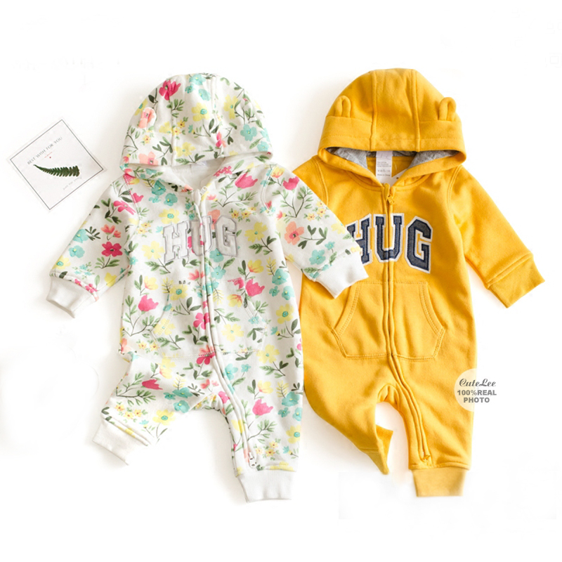 6-24M spring Baby Rompers flower hooded Baby Girl Boy romper Zipper Outwear Newborn Baby jumpsuit pocket Costume Baby Clothes luxury good quality new fashion women zipper jumpsuit slim fit skinny jeans rompers pocket denim jumpsuits size sexy girl casual
