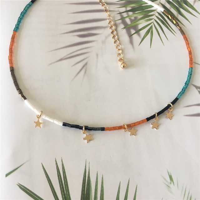 Colorful Bead Necklace With Small Star Charm 4