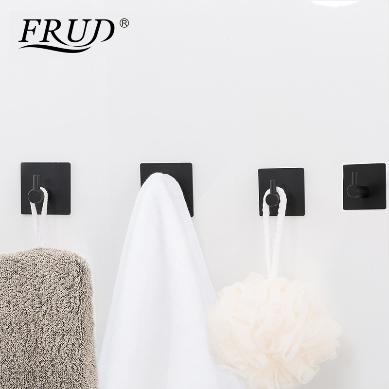 FRUD Modern Self Adhesive Hooks 4 Pcs Stainless Steel Towel Robe Coat Cloth Bag Key Holder Hanger Heavy Duty Wall Mounted Black