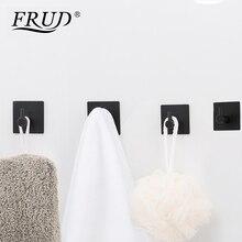 FRUD Modern Self Adhesive Hooks 4 pcs Stainless Steel Towel Robe Coat Cloth Bag Key Holder Hanger Heavy Duty Wall Mounted Black