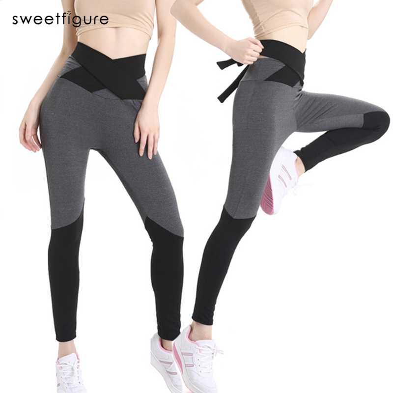 2387cd5ff0413 Fitness Slim Leggings Womens Casual Workout Leggings For Women Bowknot  Waist Belt Sporting Leggings Girls Pants
