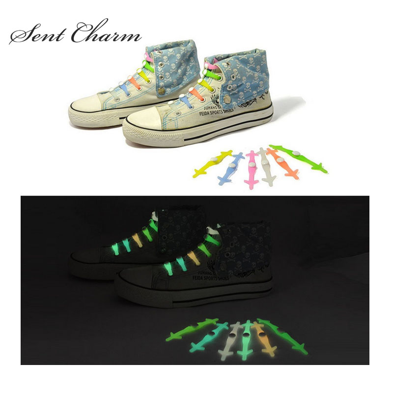 SENTCHARM Mixed Color Unisex Luminous Silicone Shoelaces Elastic Shoestrings For Running Climbing Sneakers