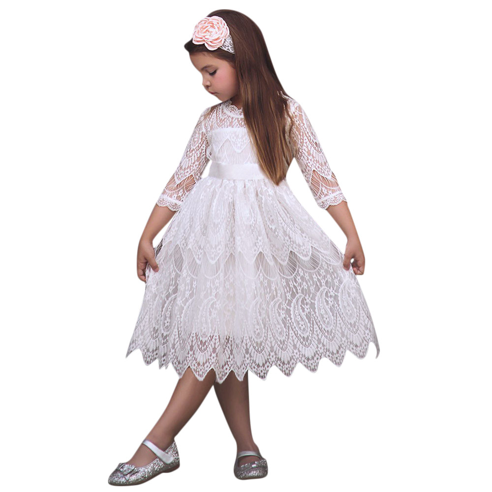 Christmas Girl Lace Dress half sleeves Girl Party Dress Elegant Children Clothing Kids Dresses For Girls Princess Wedding gown girl