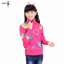 Girls Clothing OFCS Autumn Pullover Children Sweaters Rainbow Cloud Long Sleeve Outerwear O-neck Kids knitting Knitwear 3-16Year(China)