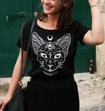 WOMEN TSHIRT CAT PENTAGRAM 666 SATAN CROSS GOAT SATANIC DARK EGIPT GOTH CAMISETA(China)