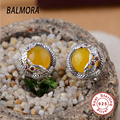 BALMORA 925 Sterling Silver Jewelry Yellow Chalcedony Stud Earrings for Women Party Gifts Aretes Free Shipping Bijoux MN30728