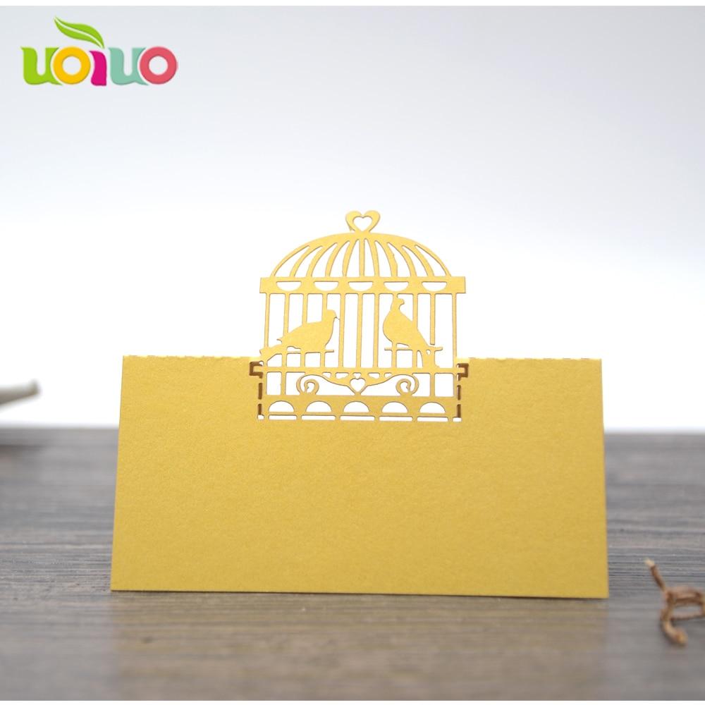 Пользовательская клетка для птиц, лазерная резка место карты для украшения стола с быстрой доставкой