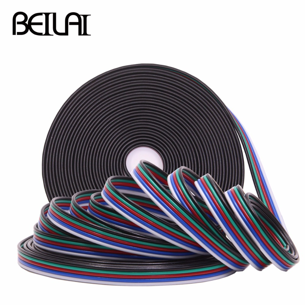 BEILAI 5m 2PIN 4PIN 5PIN LED Connector Extension Wire Cable For SMD 5050 RGBW RGB LED Strip Single Color 5m 10m 20m 50m 2pin single 3pin 2811rgb 5pin rgbw extension 4pin rgb white rgb black wires connector cable for rgb led strip