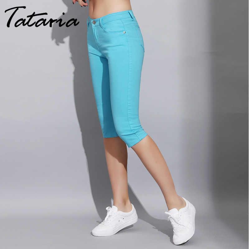 Caramelo Color Pantalones Mujeres La Rodilla Verano Longitud Cortos Los Vaqueros Slim De Skinny TKl1cJF