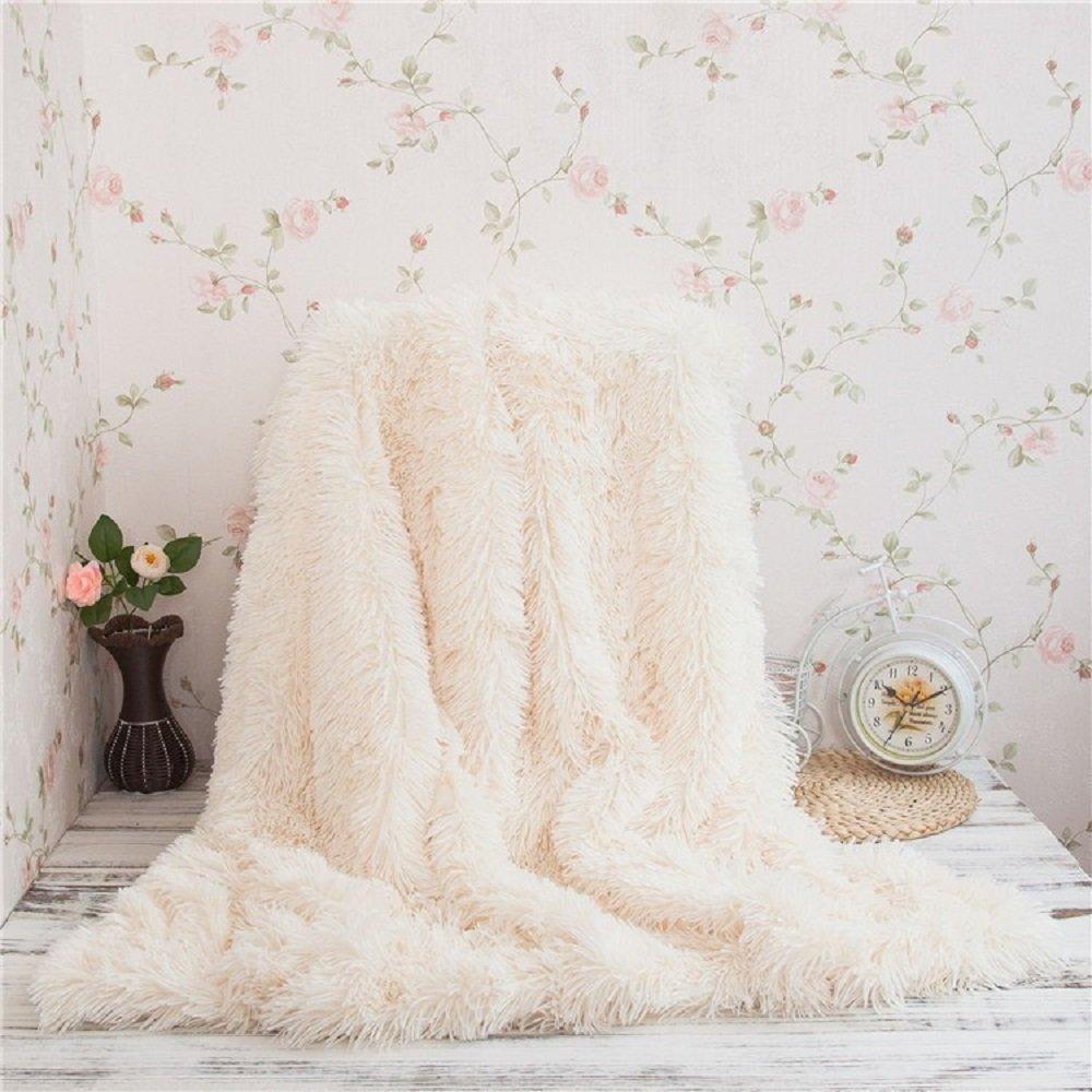 WINLIFE Super Soft Long Shaggy Fuzzy Fur Faux Fur Warm Elegant Cozy With Fluffy Sherpa Throw