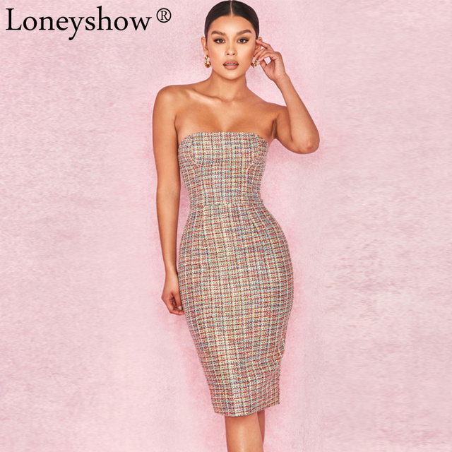 3a960a5133 Loneyshow 2018 New Fashion Women's Sexy Wrapped Chest Dress Slim Strapless  Bodycon Mat Print Party Pencil