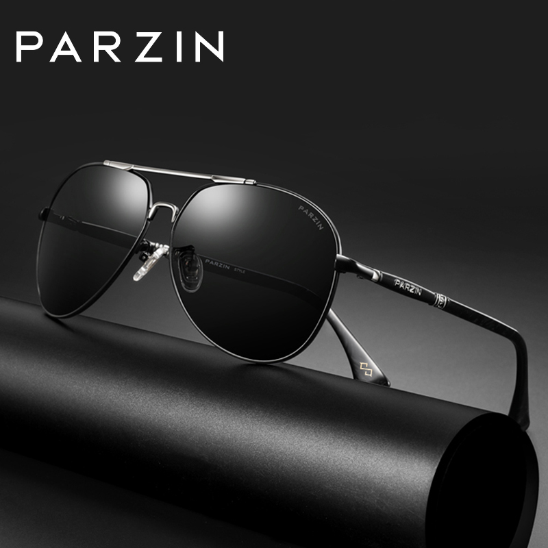 PARZIN Luxury Brand Designer Sunglasses Men Polarized for Driving Vintage Pilot Men Sun Glasses 2019 New