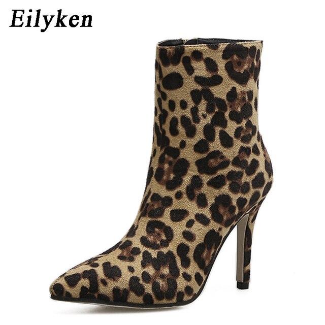 Eilyken 2019 nuevo diseño de leopardo de grano botas de tobillo de mujer botas de Punta puntiagudas de mujer Sexy Stiletto otoño Chelsea botas