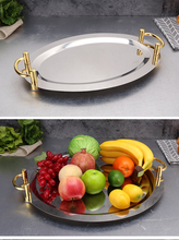 Golden double Ear oval stainless steel plate tray buffet candy fruit mirror Plate hotel restaurant grill wedding tray cute dish