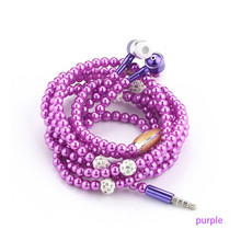 Pink girl Rhinestone Jewelry Pearl Necklace Earphones With Microphone Earbuds Fo