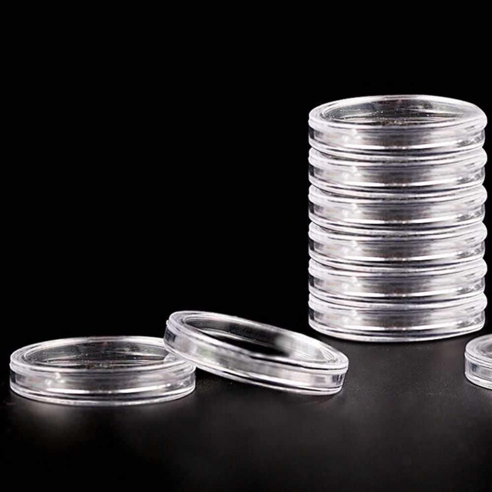10 unids/lote 18/27/30/32/35/40/50mm cápsulas con soporte para monedas cajas de plástico con anillo de almacenamiento redondo cápsulas para monedas