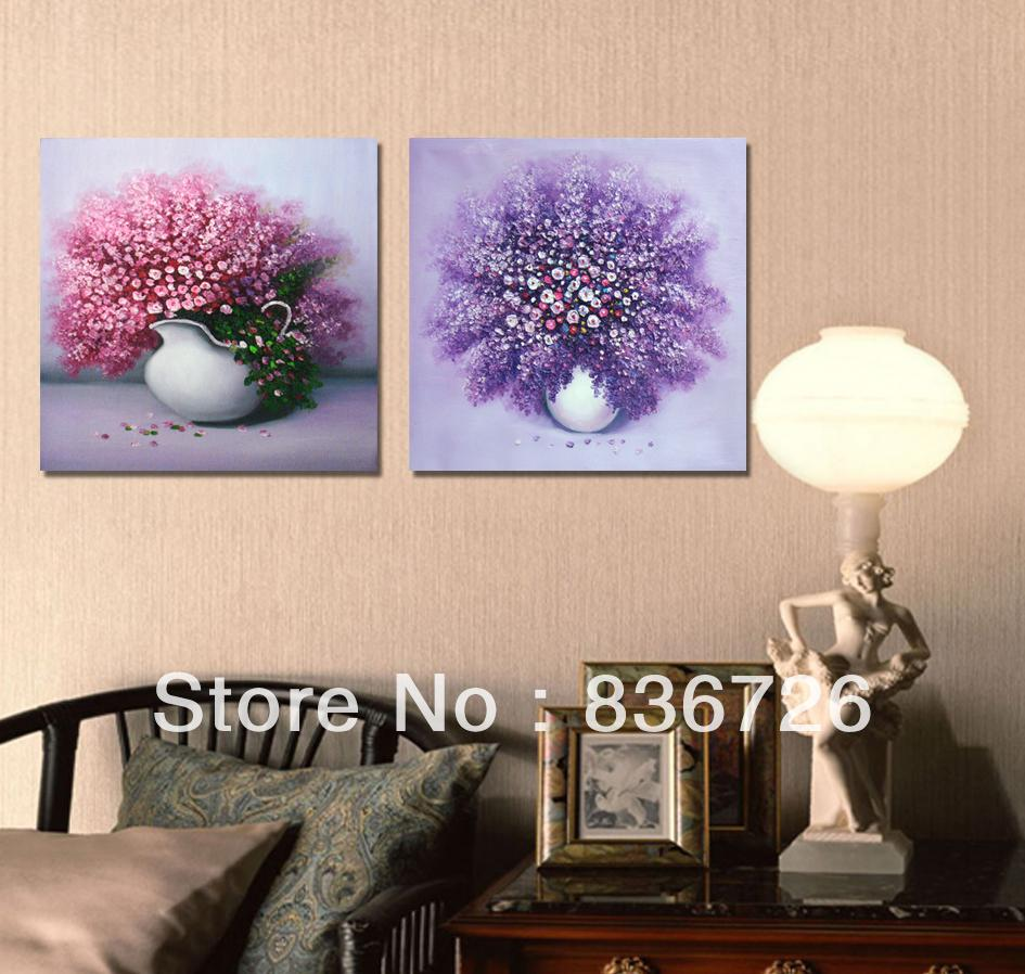 Wedding Decoration 2 Piece Canvas Wall Art Purple Flowers Wall Art On  Canvas Fashion Home Decoration