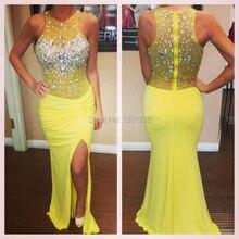 Sparkly meerjungfrau lange yellow prom kleider 2016 strass kristall sexy frauen formale abendkleider party kleider robe de soiree