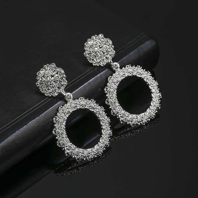 2019 New Popular Vintage Earrings For Women Golden Silver Color Round Circle Hollow Heavy Punk Earring Gift For Party Brincos