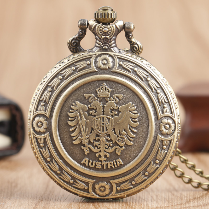 Bronze The Double Eagle Nurse Pocket Watch Austria National Emblem Men Women Necklace Pendant with Chian Relogio De Bolso Gifts
