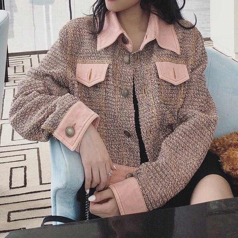 Mode Mince Hiver 2018 Dames Revers Automne Tweed De Pour Luxe Court Femmes 1 Vestes 2 Piste Manteau xBYOAwx